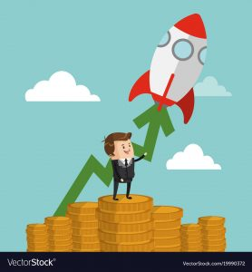 Businessman with start up making money cartoon